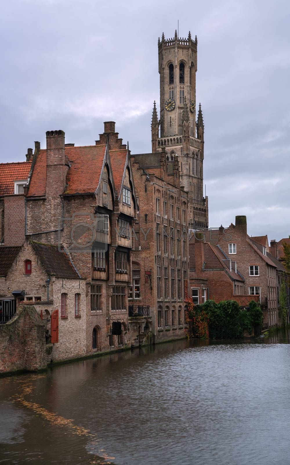 Historic buildings along the canals of Bruges, Belgium