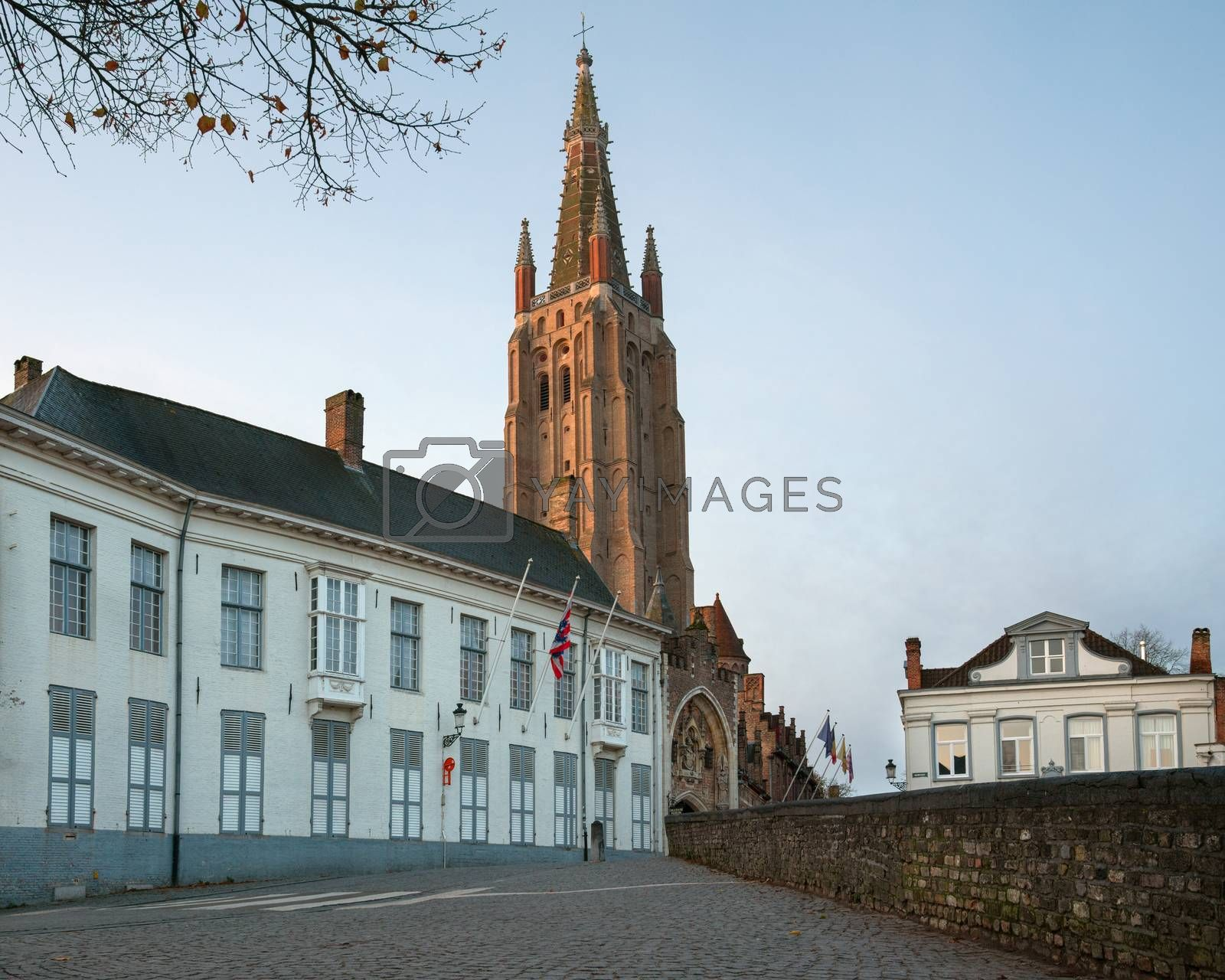 Street onto the church of our Lady, historic city of Bruges, Belgium