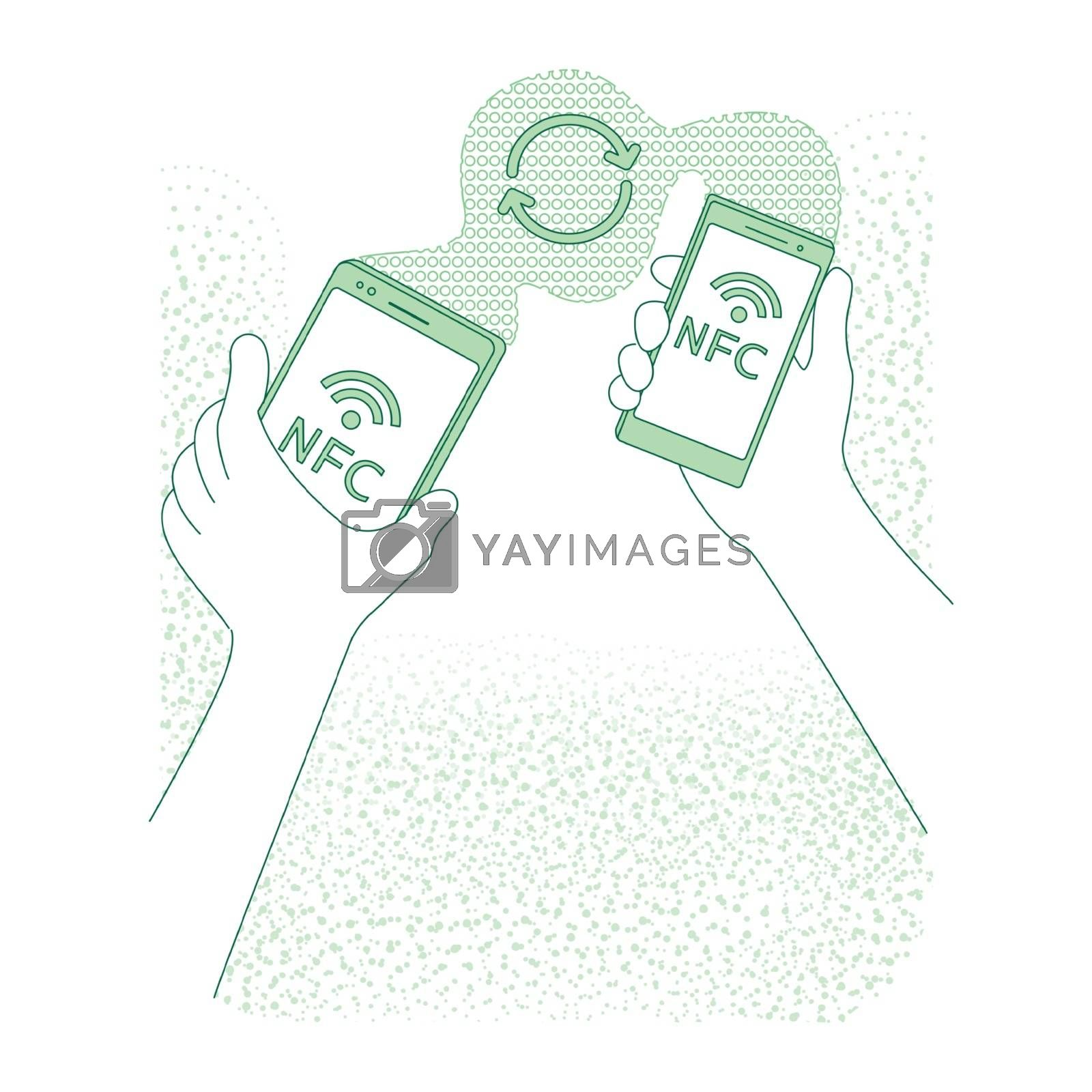 Mobile data transfer thin line concept vector illustration. People holding smartphones 2D cartoon character for web design. Information exchange, mobile app, nfc technology creative idea