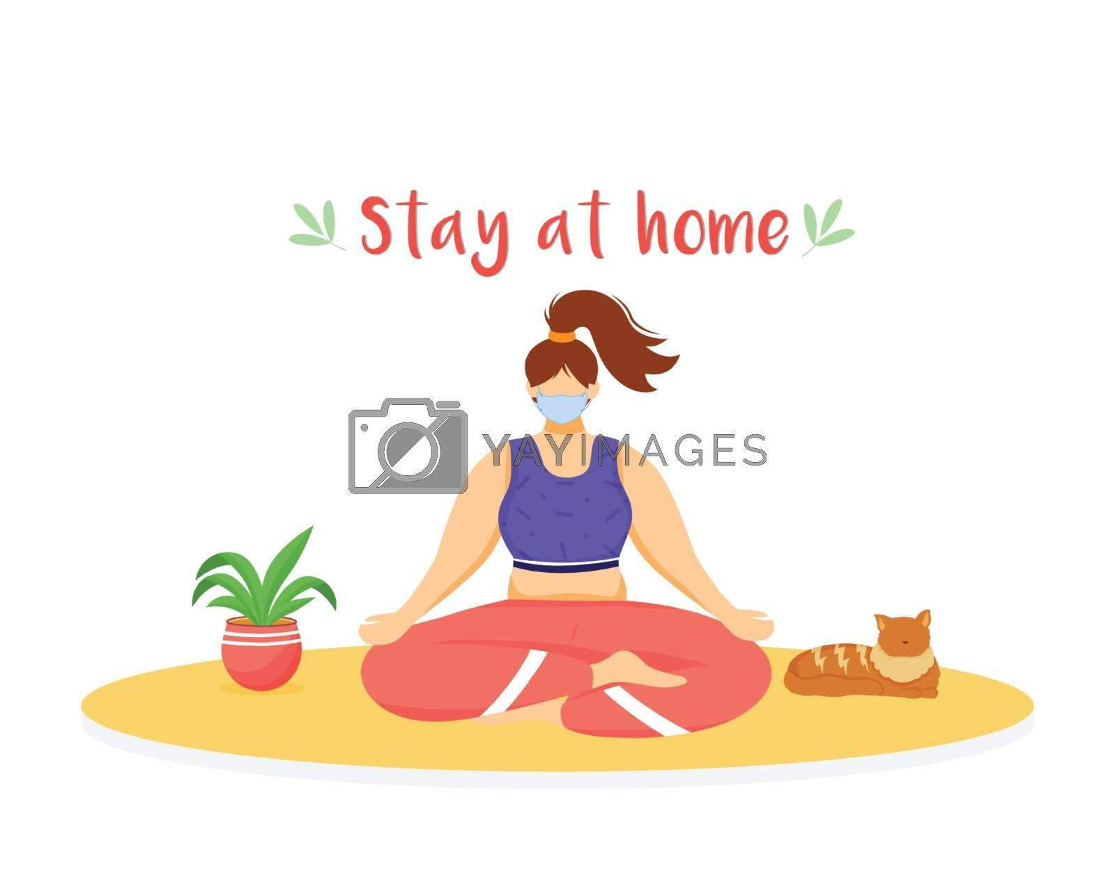 Stay at home flat color vector faceless character. Quarantine selfcare. Woman meditating with medical mask. Self isolation isolated cartoon illustration for web graphic design and animation by ntl