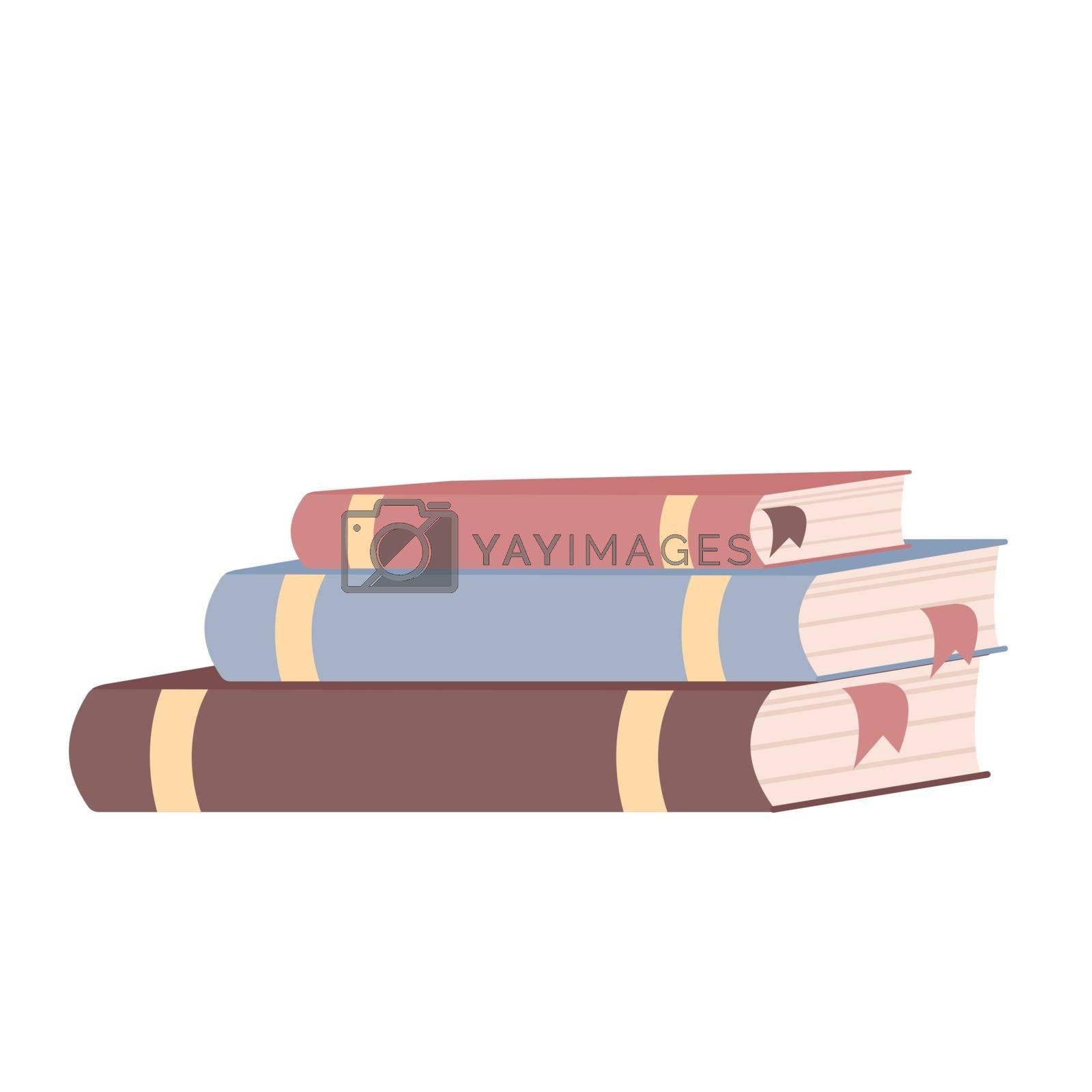 Books stack cartoon vector illustration. Textbooks with bookmarks flat color objects. Student accessory, educational materials isolated on white background. College lifestyle attribute