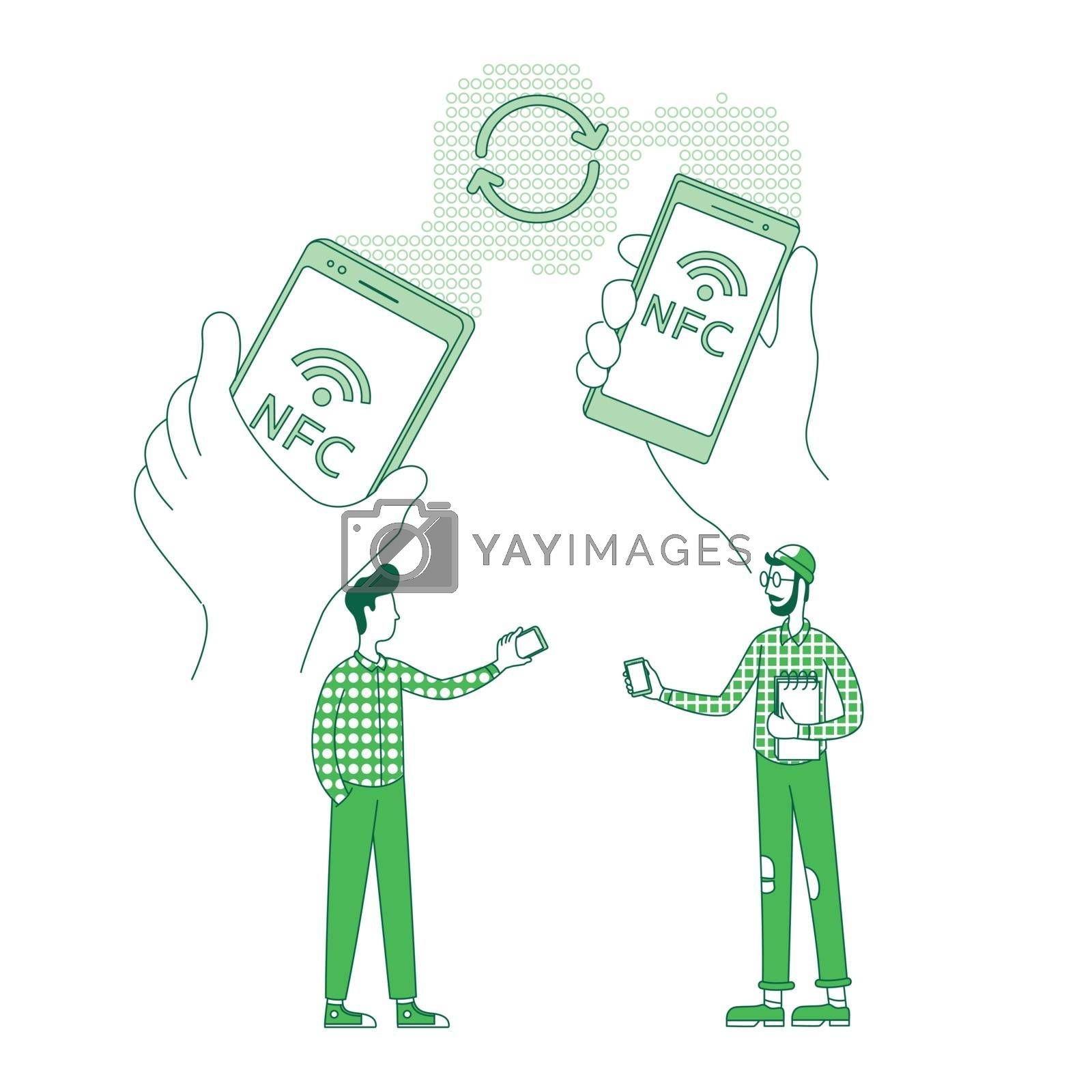 Mobile content, data exchange thin line concept vector illustration. People holding cellphones 2D cartoon character for web design. Information transfer, file sending creative idea