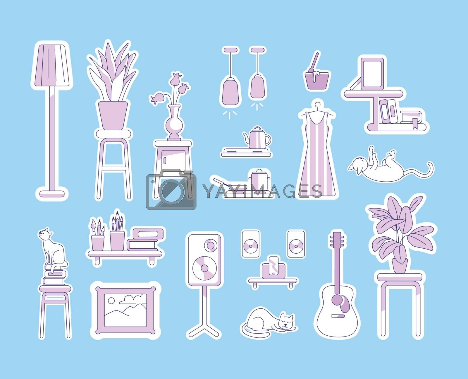 Lifestyle purple linear objects set. Guitar and music system. Shelves and house plants. Hobbies and craft thin line symbols pack. Household isolated outline illustrations on blue background