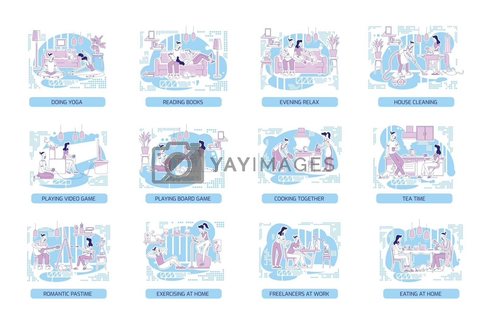 Couple bonding flat silhouette vector illustrations set. Man and woman spending time at home. Family outline characters on blue background. Lifestyle and hobbies simple style drawings pack