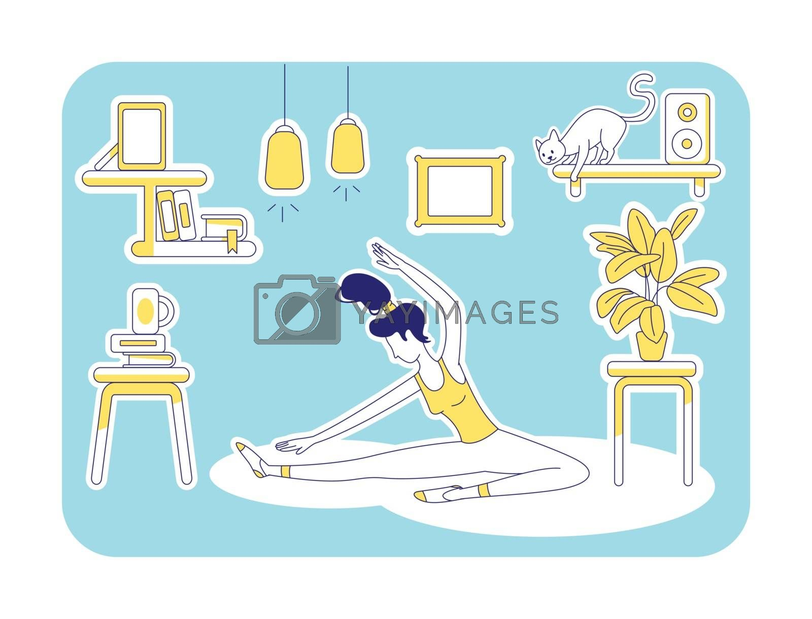 Yoga at home flat illustration by ntl