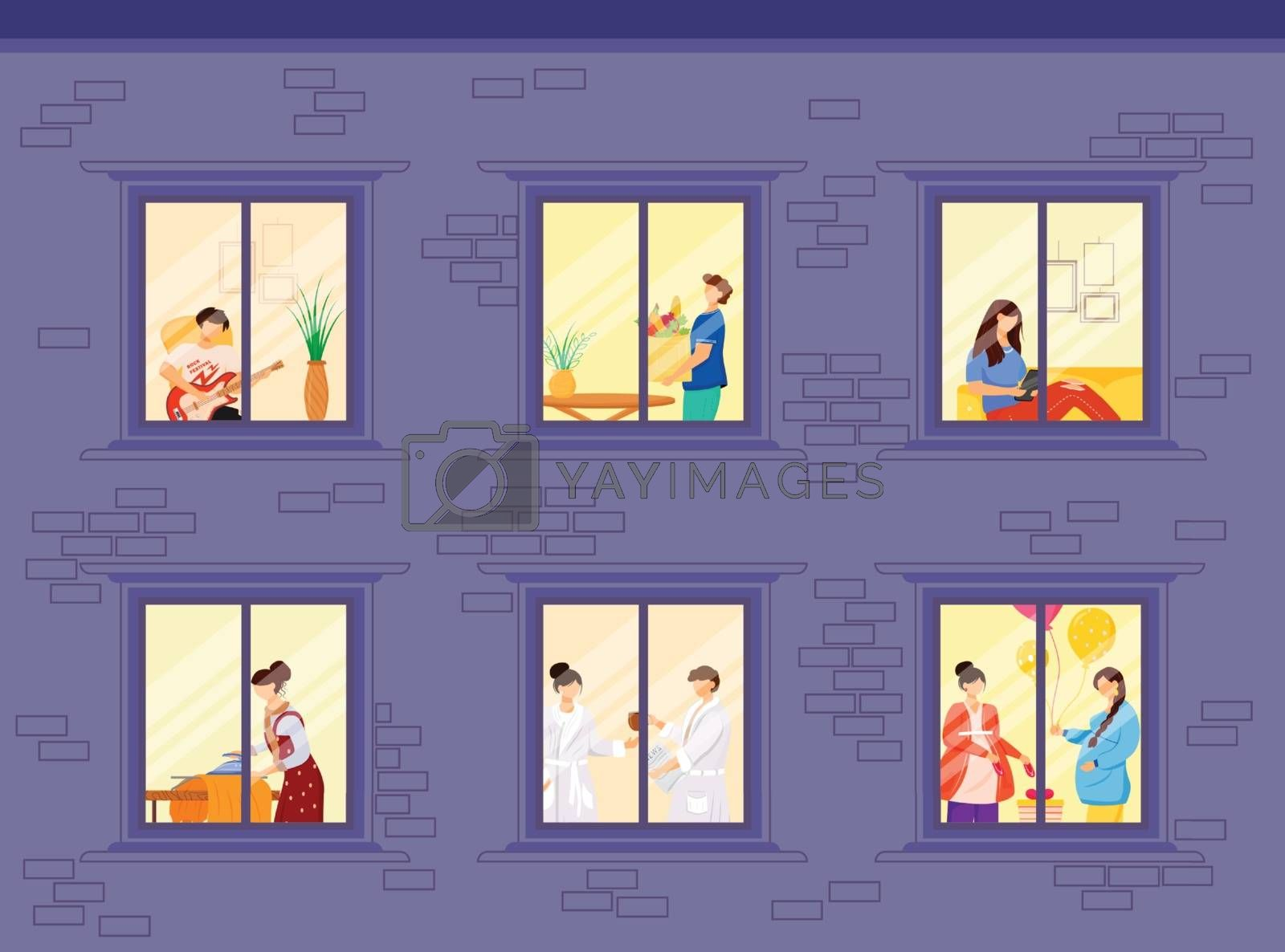 Evening neighbors routine flat color vector illustration. People lifestyle inside house windows. Hobby and leisure. Home activity 2D cartoon characters inside with interior on background