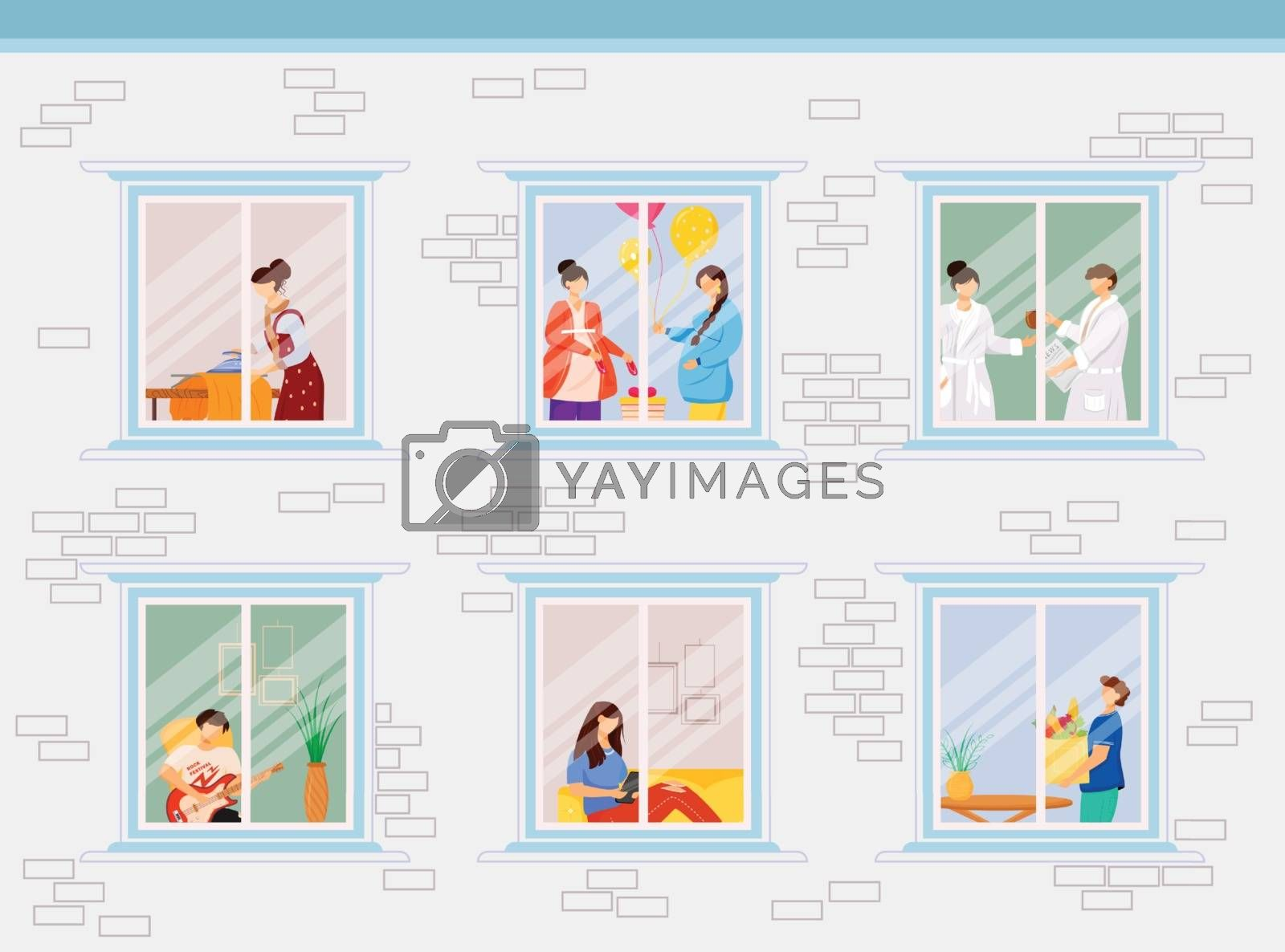 Apartment neighbors flat color vector illustration. Windows into people house. Hobby and lifestyle. Lounge on couch. Home activity 2D cartoon characters inside with interior on background