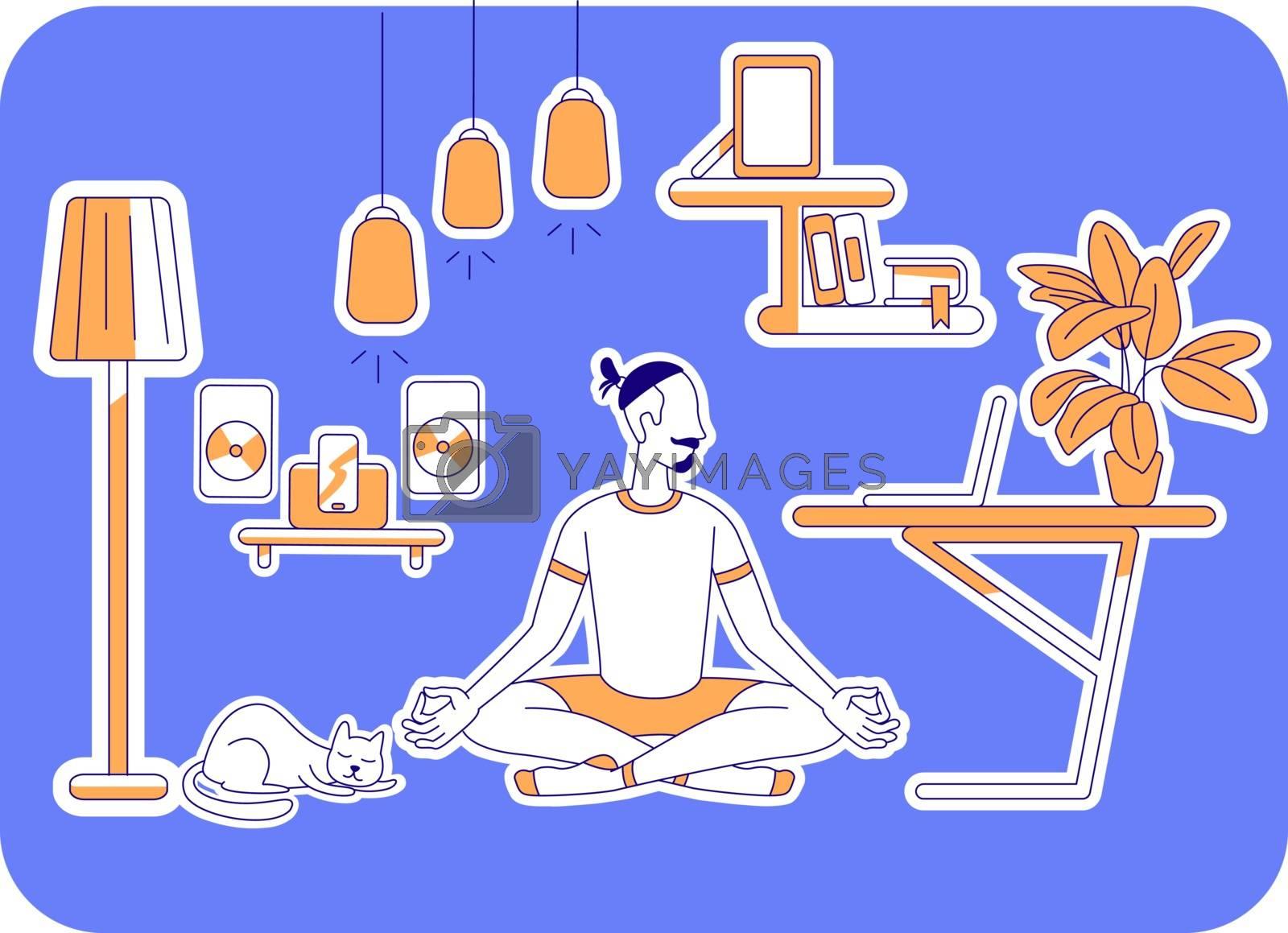 Man learn yoga flat silhouette vector illustration by ntl