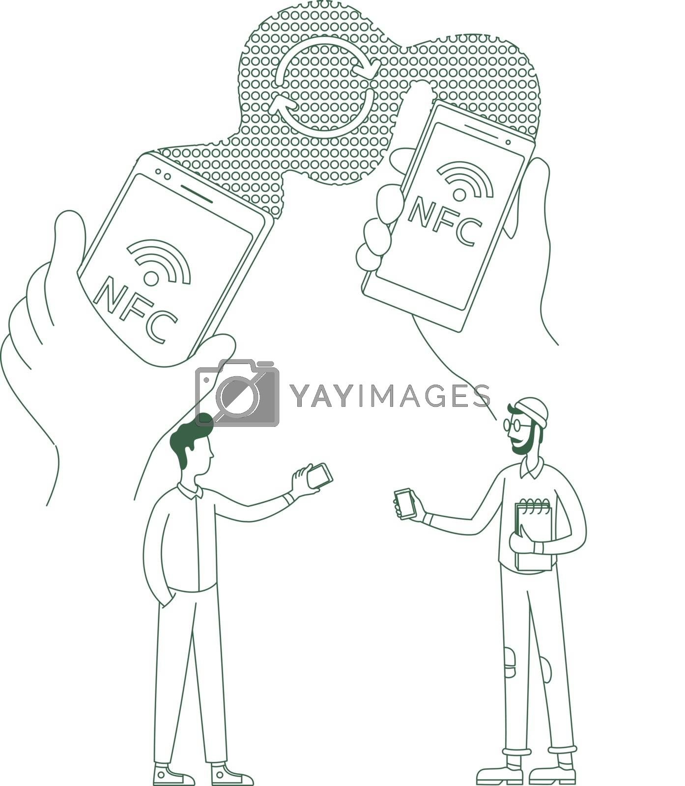 Info exchange, file sending thin line concept vector illustration. People with cellphones 2D cartoon character for web design. NFC, data transfer, wireless connection creative idea