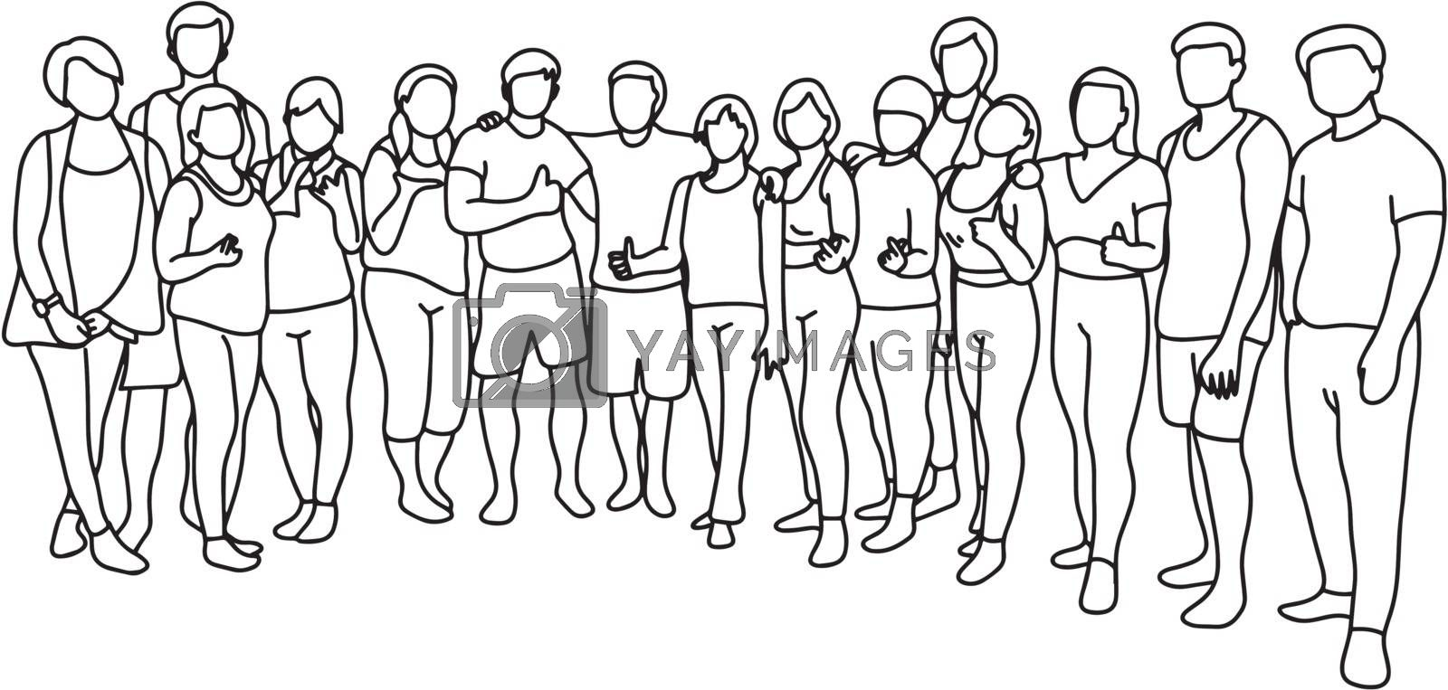 people of yoga class standing together vector illustration sketch doodle hand drawn with black lines isolated on white background.