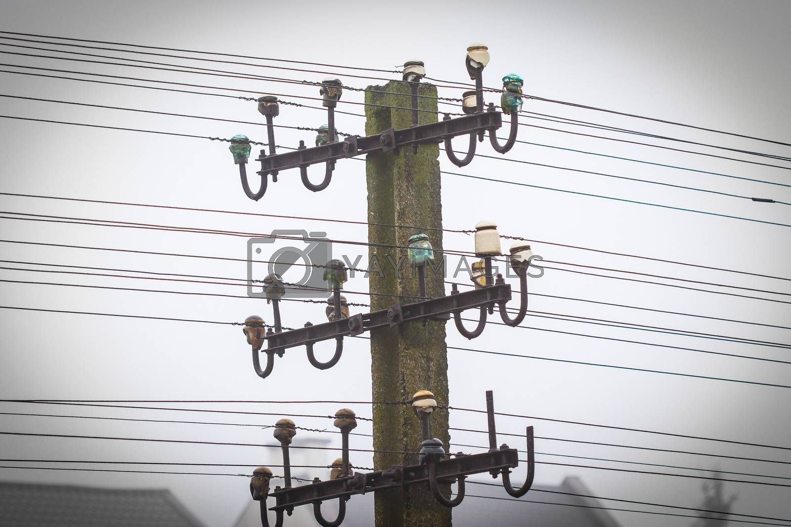 Concrete pole with old telegraph and telephon wired line with misty background