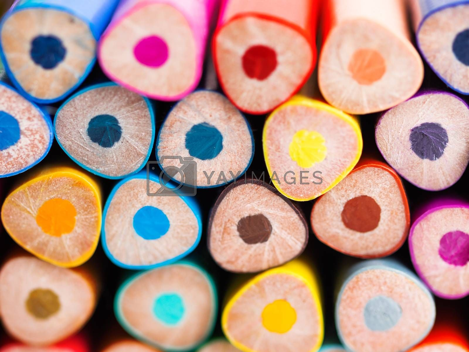 Ends of colorful watercolor pencils. School supplies background. Kid's stationery. Back to school macro backdrop.