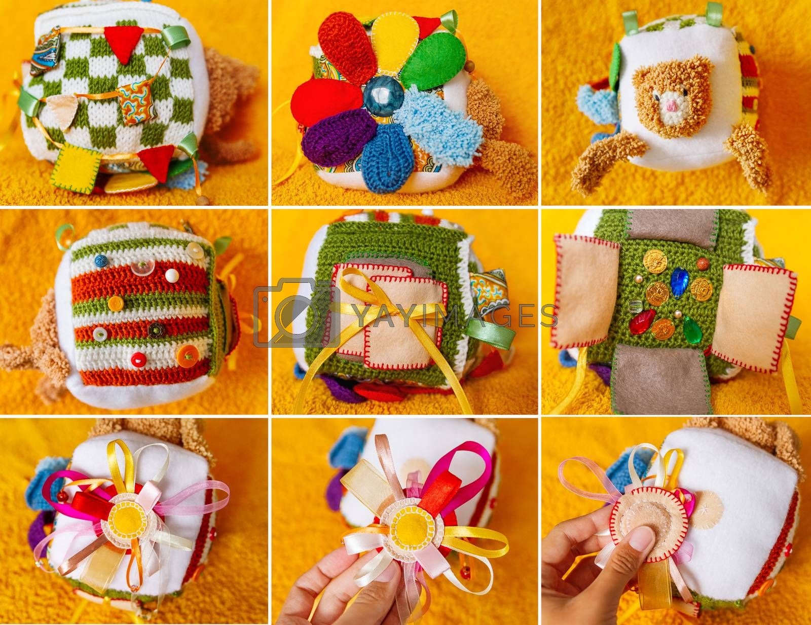 Colorful hand made toy for toddlers and babies. Busy cube. Soft  baby block made of fabric to develop skills and fine motor skills. Taggie Cube. Montessori busy toy. Collage.