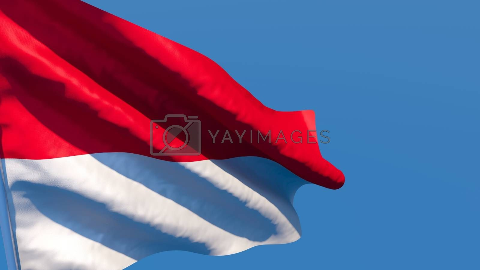 3D rendering of the national flag of Indonesia waving in the wind against a blue sky
