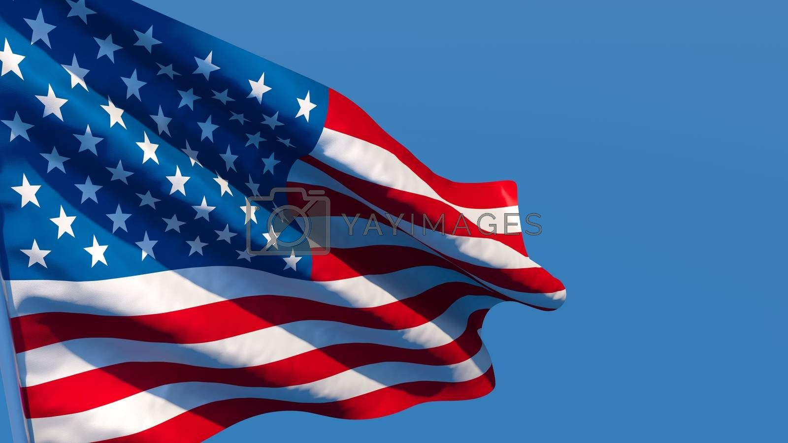 3D rendering of the national flag of United States of America waving in the wind against a blue sky