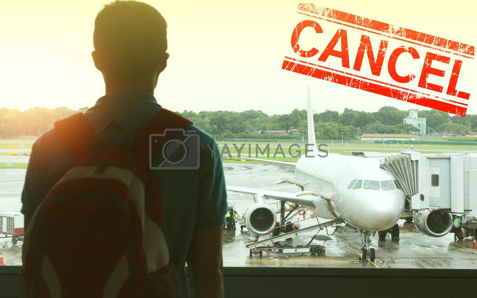 Flights were cancelled due to the spread of the coronavirus, pandemic covid 19.  Crisis in aviation, airline and industry due to corona virus covid-19.