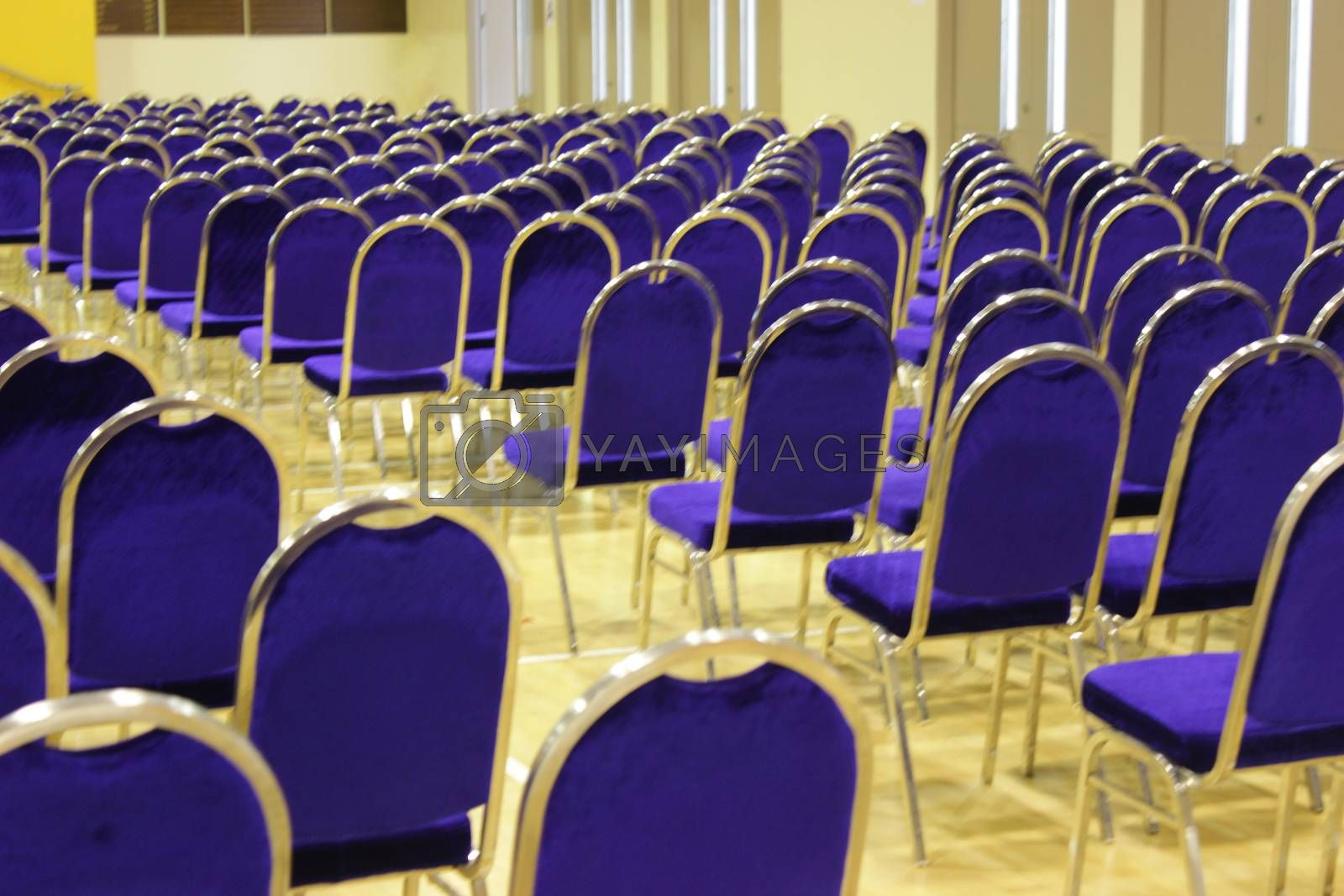 Empty rows of seats in auditorium hall.Concept of quarantine,curfew,cancellation of mass events to prevent spreading of  coronavirus .