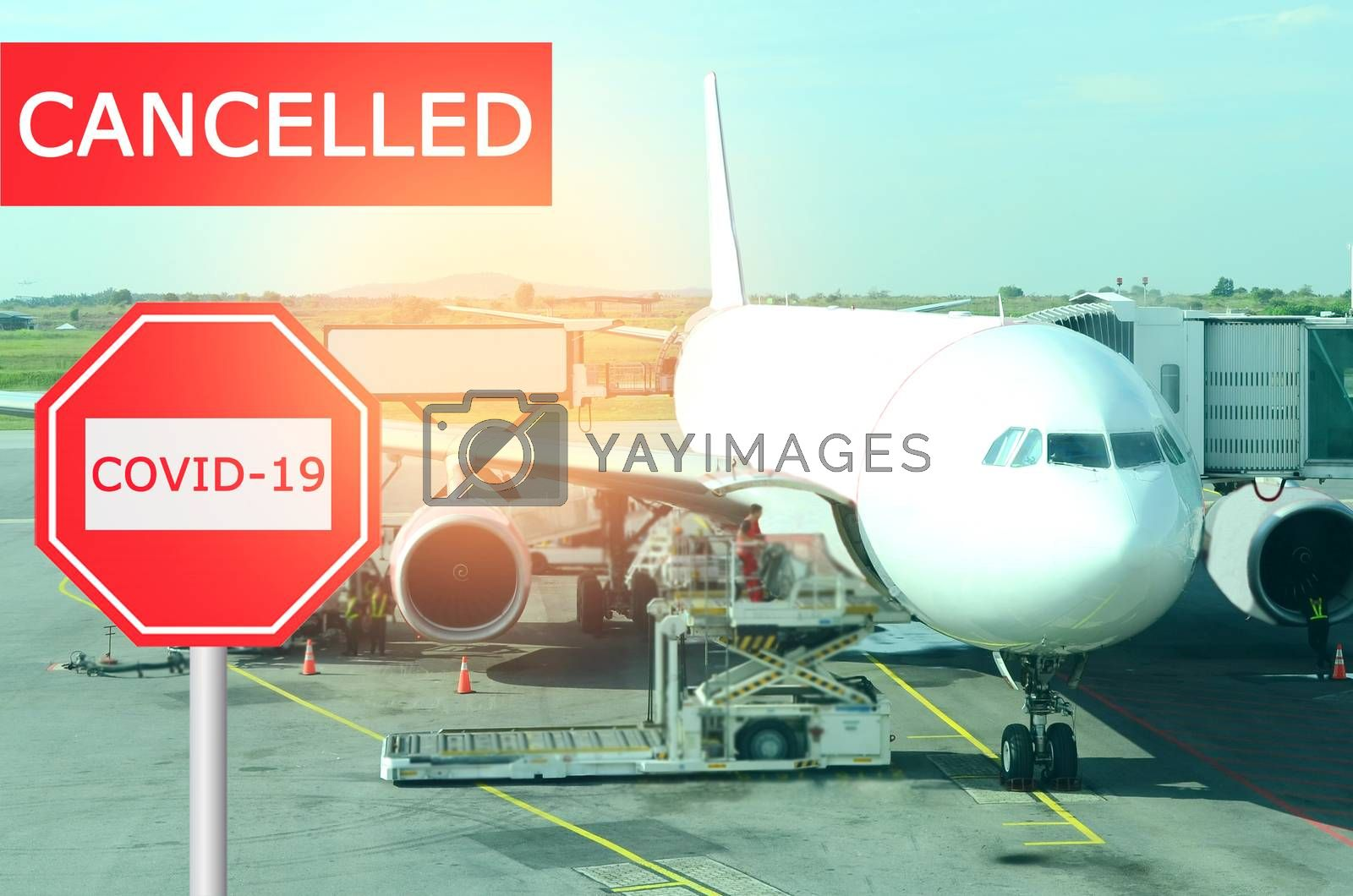 Flights were cancelled due to the spread of the coronavirus, pandemic covid 19.