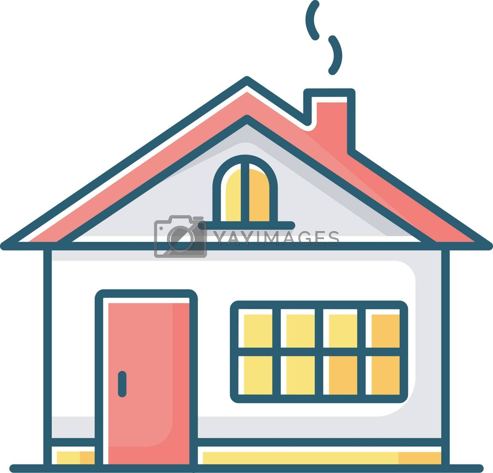 House RGB color icon. Residential home exterior. Real estate for renting. Dwelling building in suburban area. Household property. Mansion ownership. Village neighborhood. Isolated vector illustration