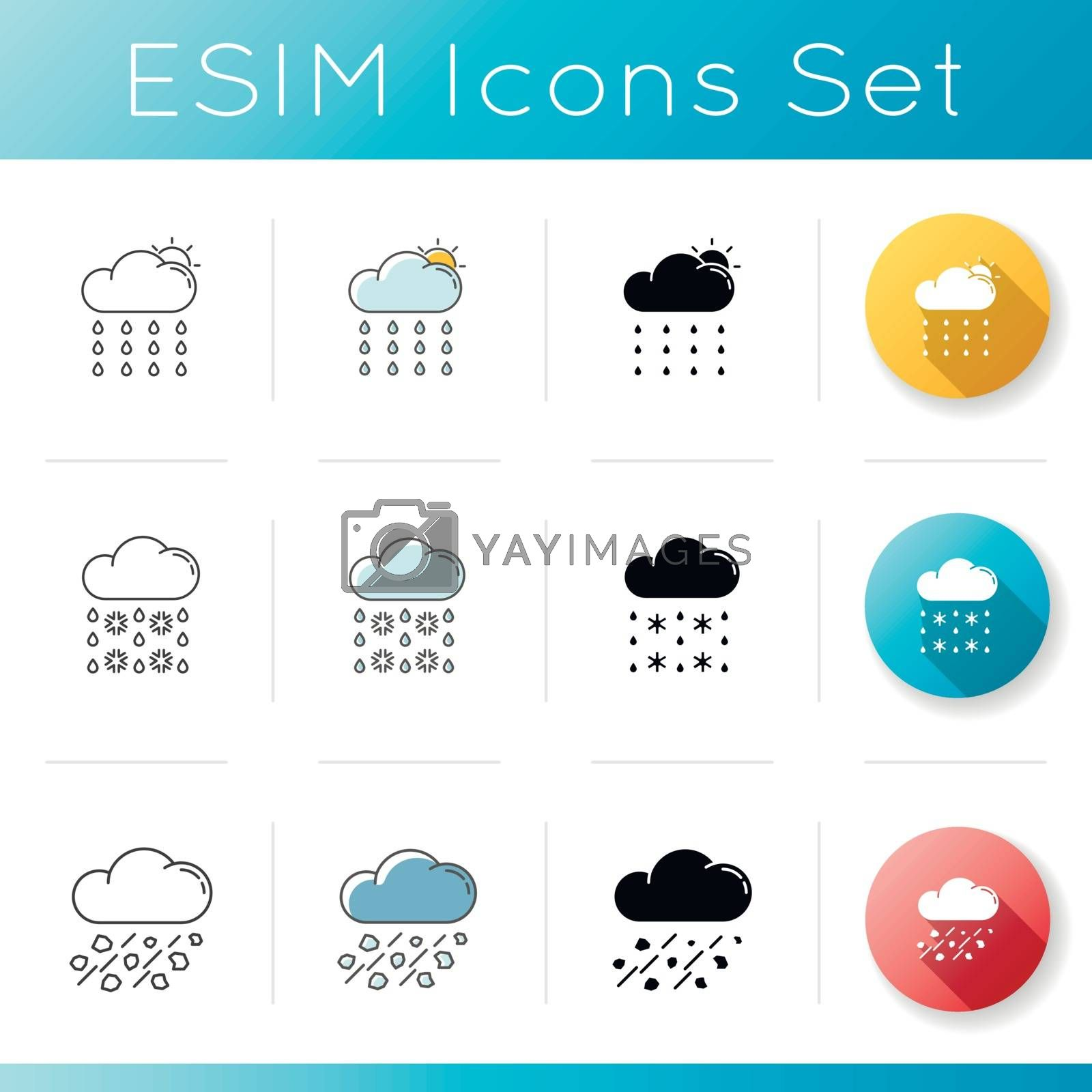 Rainy weather icons set. Linear, black and RGB color styles. Meteorology. atmospheric precipitation forecasting. Summer drizzle, winter sleet and mixed rain. Isolated vector illustrations