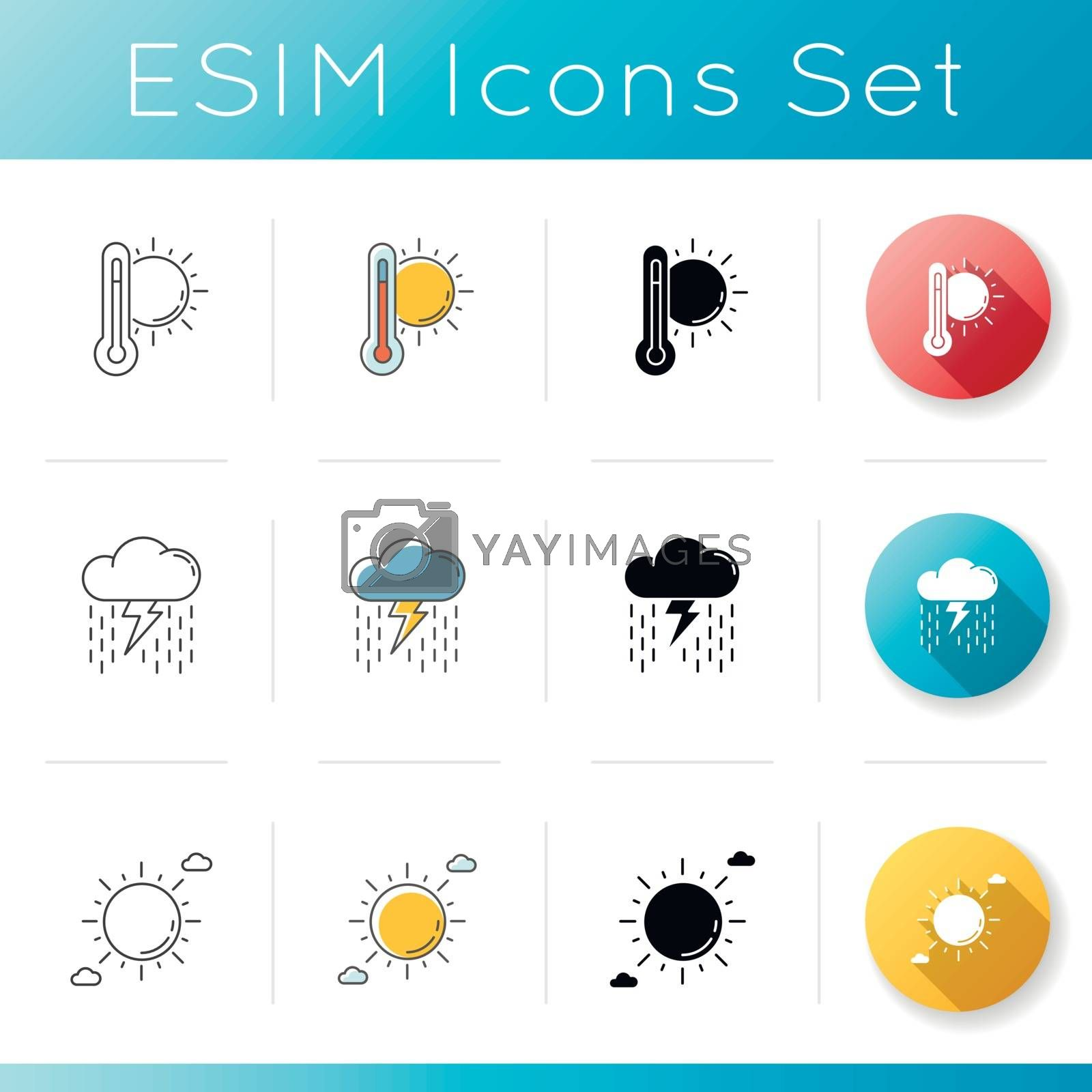 Summer weather icons set. Linear, black and RGB color styles. Meteorology, seasonal atmosphere condition. Hot temperature, heavy showers and clear sunny sky. Isolated vector illustrations