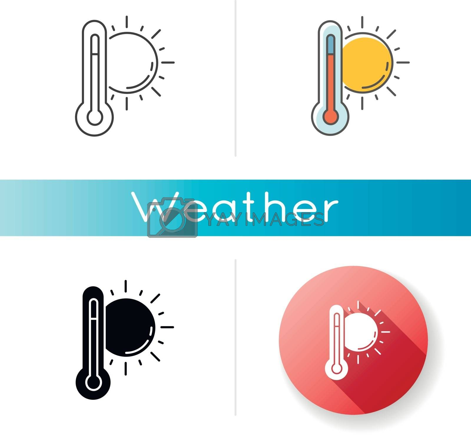 Hot weather icon. Linear black and RGB color styles. Summer heat, seasonal forecasting, meteorology science. Air temperature prediction. Thermometer with sun isolated vector illustrations