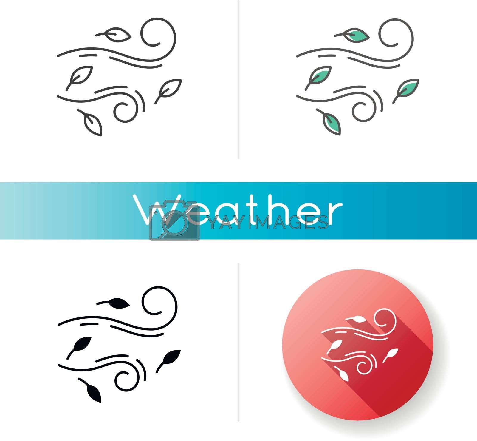 Windy weather icon. Linear black and RGB color styles. Autumn season meteo forecast, meteorology. Wind speed and strength prediction. Cool breeze with leaves isolated vector illustrations