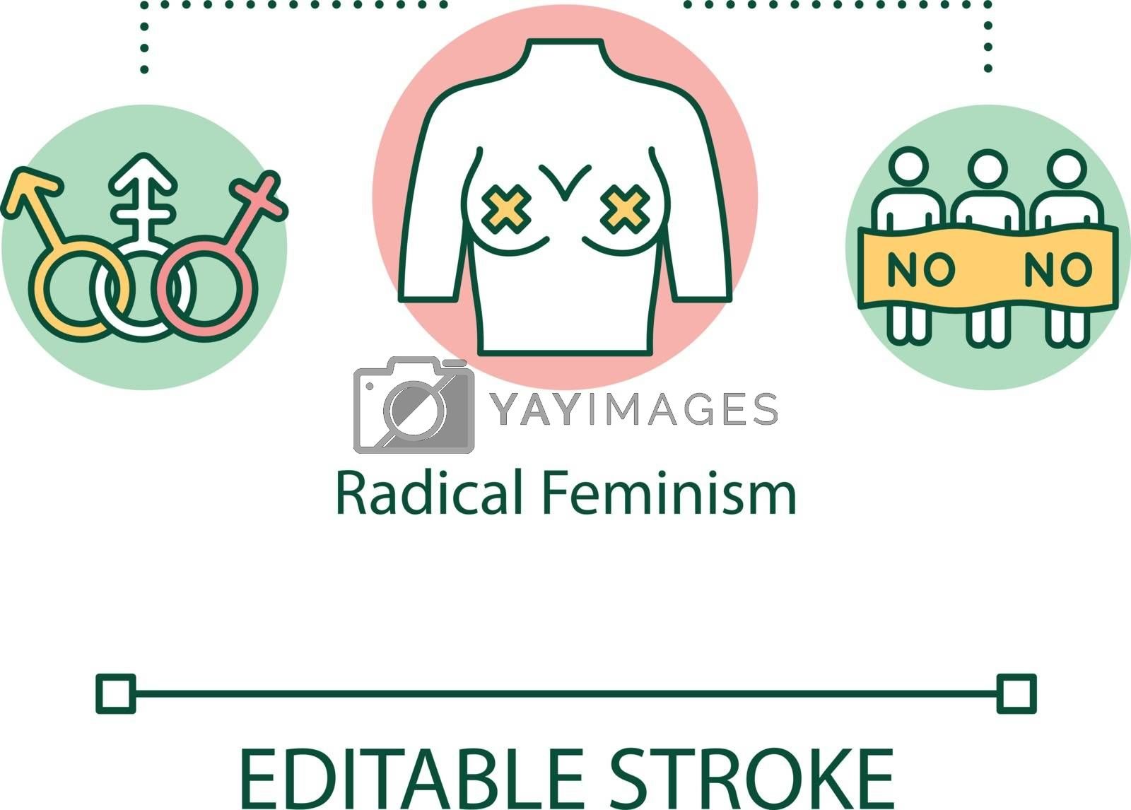 Radical feminism concept icon. Gender equality movement demostration, women empowerment, female supremacy ideology thin line illustration. Vector isolated outline RGB color drawing. Editable stroke