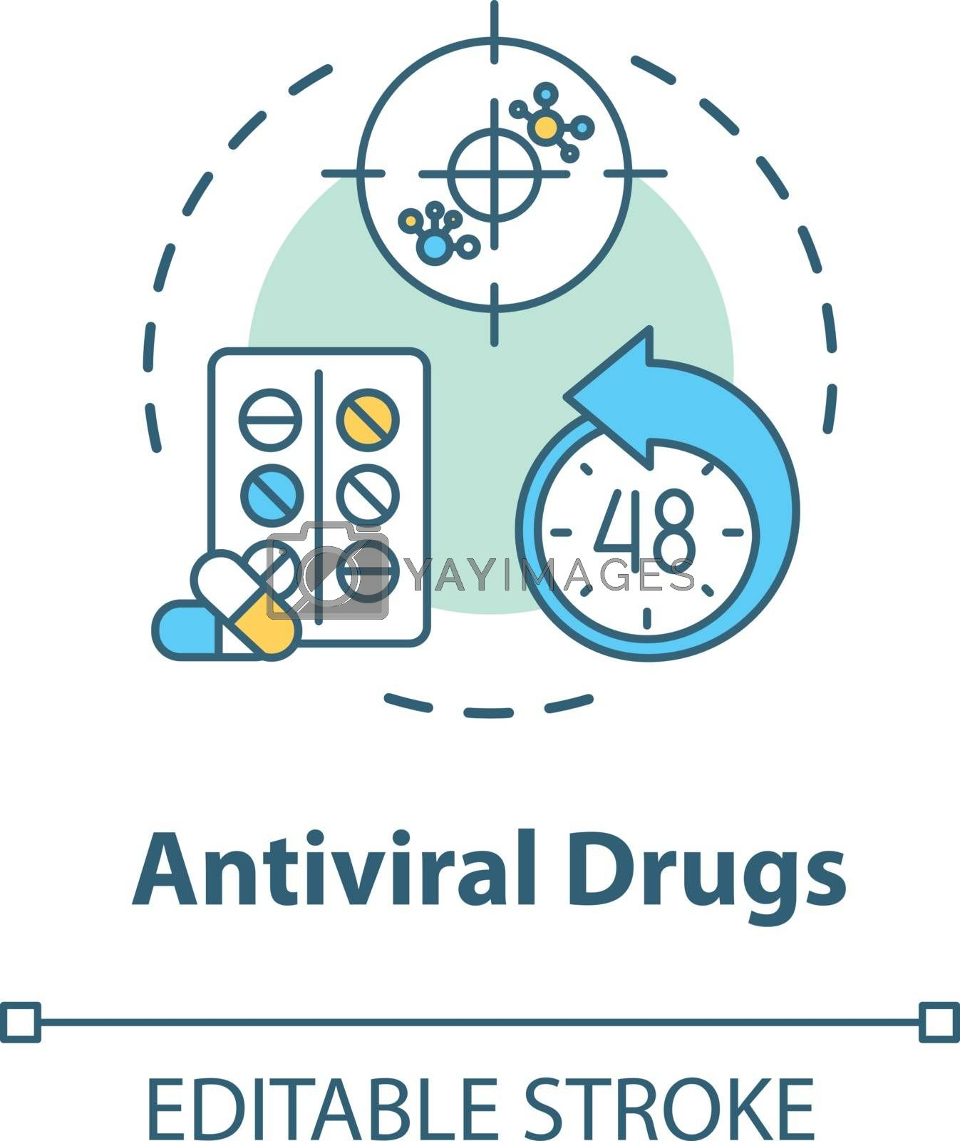 Antiviral drug concept icon. Antibiotic for flu. Tablets for disease. Medication for illness. Influenza idea thin line illustration. Vector isolated outline RGB color drawing. Editable stroke
