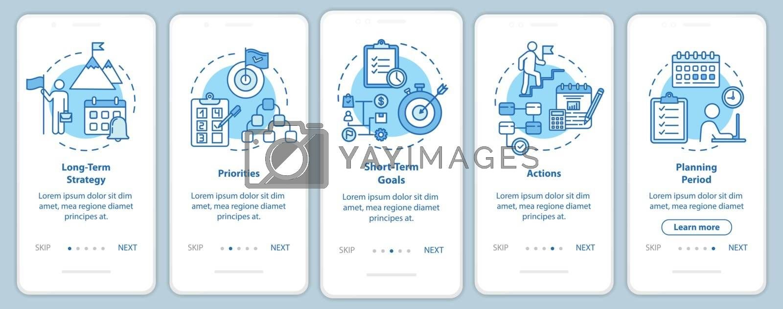 Time strategies onboarding mobile app page screen with concepts. Planning and scheming.Targeting walkthrough 5 steps graphic instructions. UI vector template with RGB color illustrations