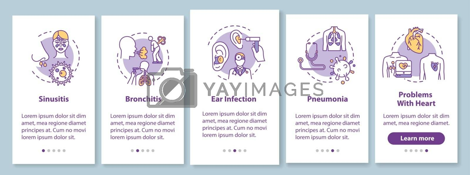 Flu symptoms onboarding mobile app page screen with concepts. Sinusitis bronchitis. Influenza walkthrough 5 steps graphic instructions. UI vector template with RGB color illustrations