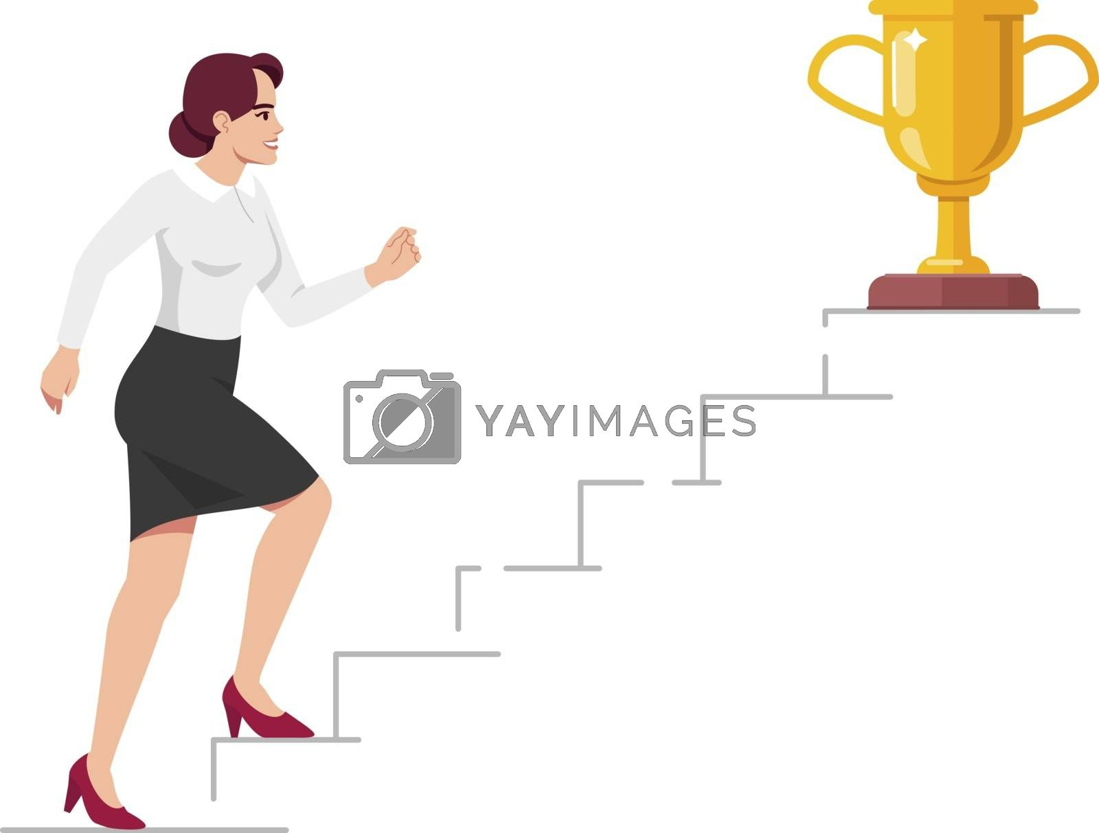 Office worker climbing up career ladder semi flat RGB color vector illustration. Top manager aiming at trophy isolated cartoon character on white background. Professional growth concept