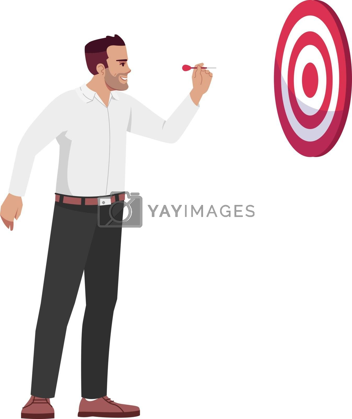 Businessman setting goals semi flat RGB color vector illustration. Office worker hitting dart board isolated cartoon character on white background. Professional aims and targets concept