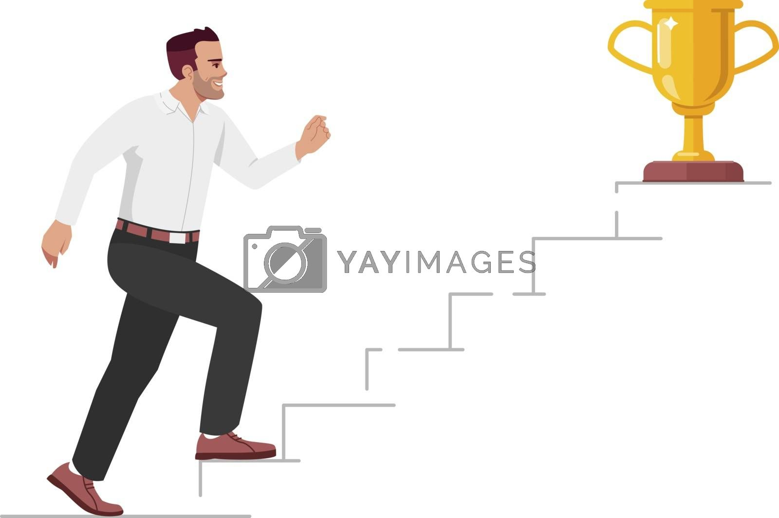 Career growth and job promotion semi flat RGB color vector illustration. Office worker aiming for success isolated cartoon character on white background. Workplace challenges and ambitions