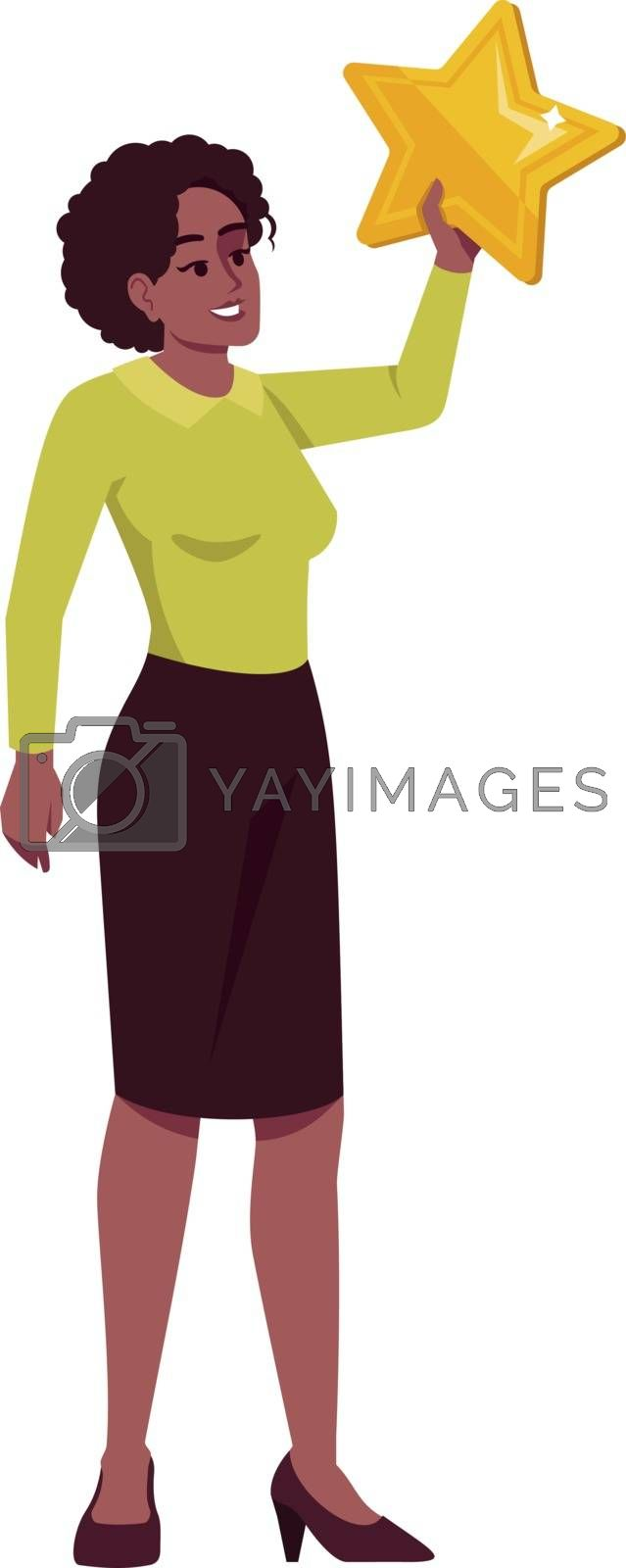 Successful female entrepreneur semi flat RGB color vector illustration. Happy businesswoman holding star isolated cartoon character on white background. Celebrating goal achievement concept