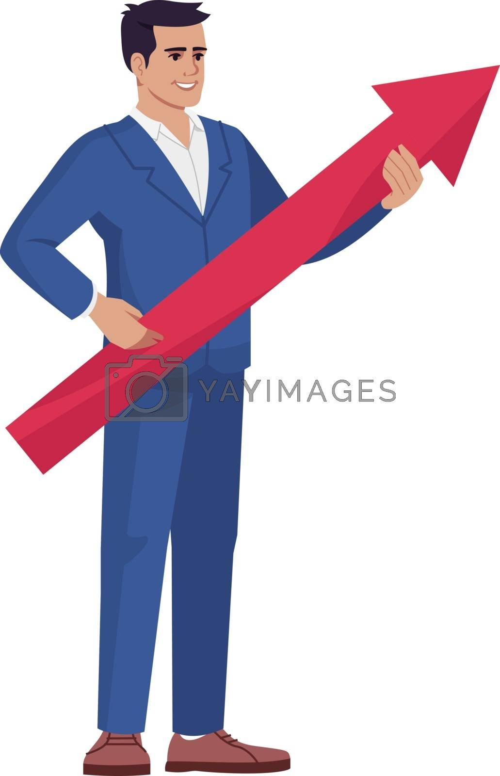 CEO offering company strategy semi flat RGB color vector illustration. Office worker, top manager with arrow isolated cartoon character on white background. Business delevopment vision concept