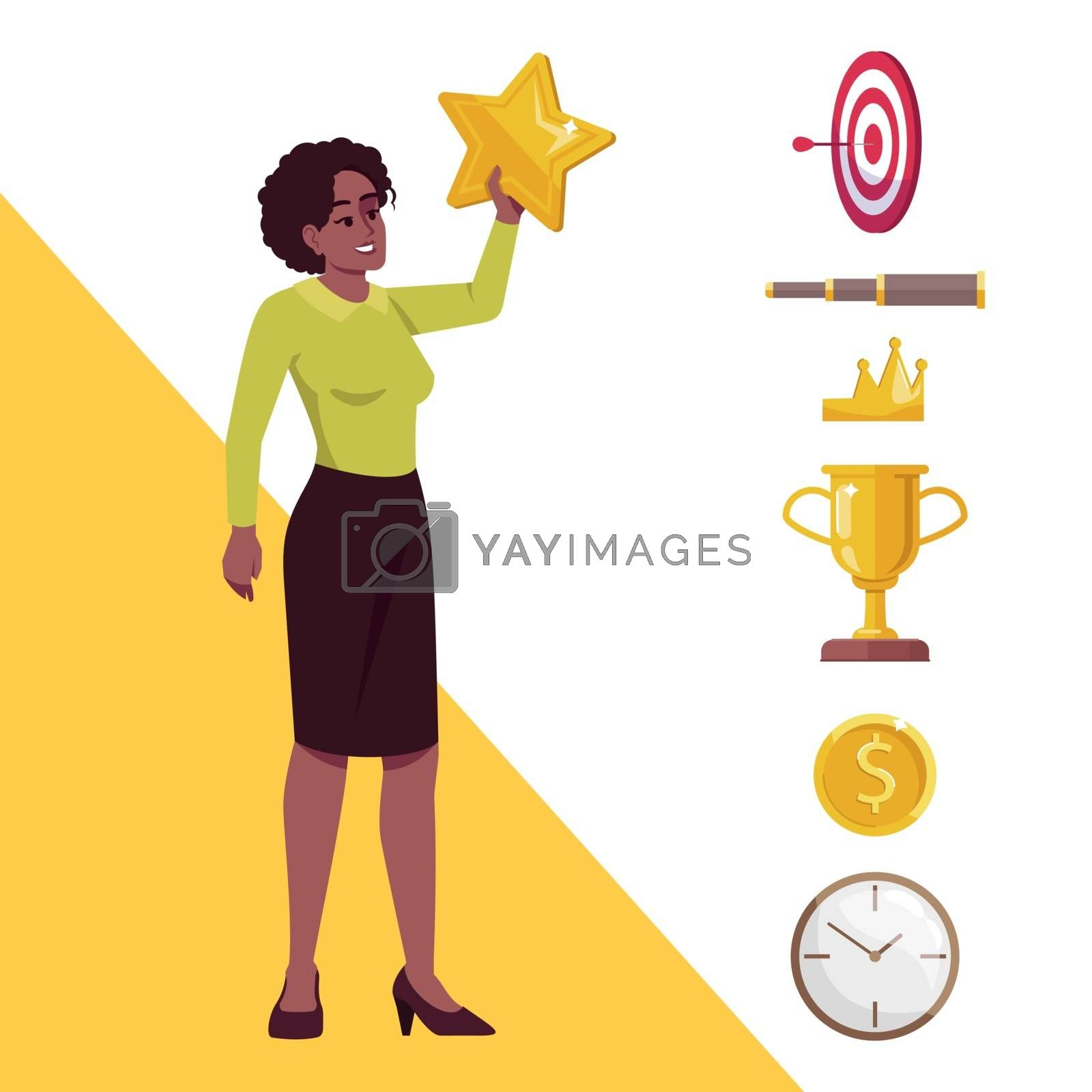 Goal achievement semi flat RGB color vector illustration. African American woman reaching star isolated cartoon character on white background with icons set. Leadership and recognition concept