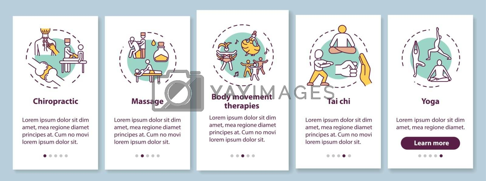 Sensory medicine onboarding mobile app page screen with concepts. Alternative healing techniques walkthrough five steps graphic instructions. UI vector template with RGB color illustrations by bsd