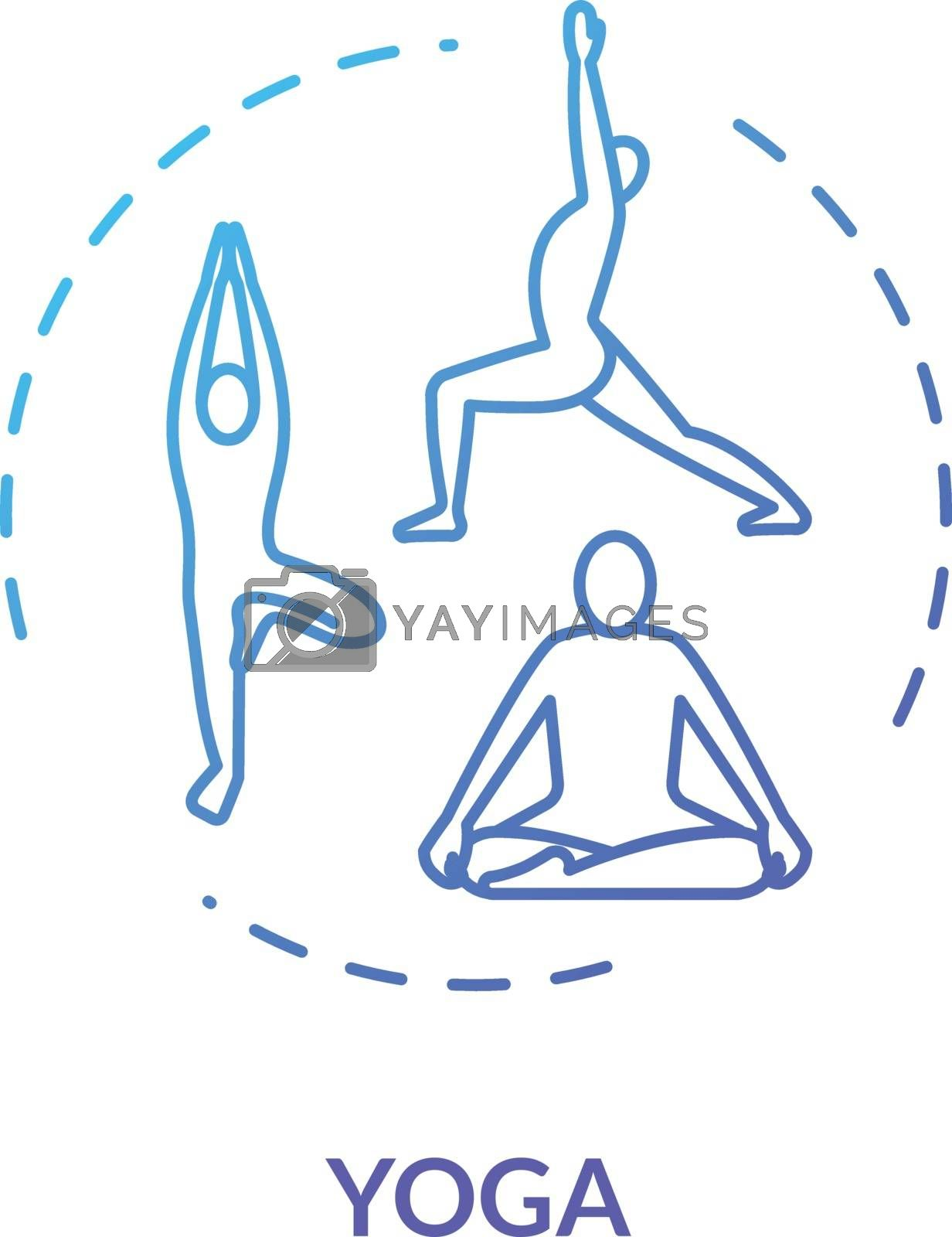 Yoga concept icon. Healthy lifestyle, relaxing workout, complementary medicine idea thin line illustration. Active exercises and meditation therapy. Vector isolated outline RGB color drawing