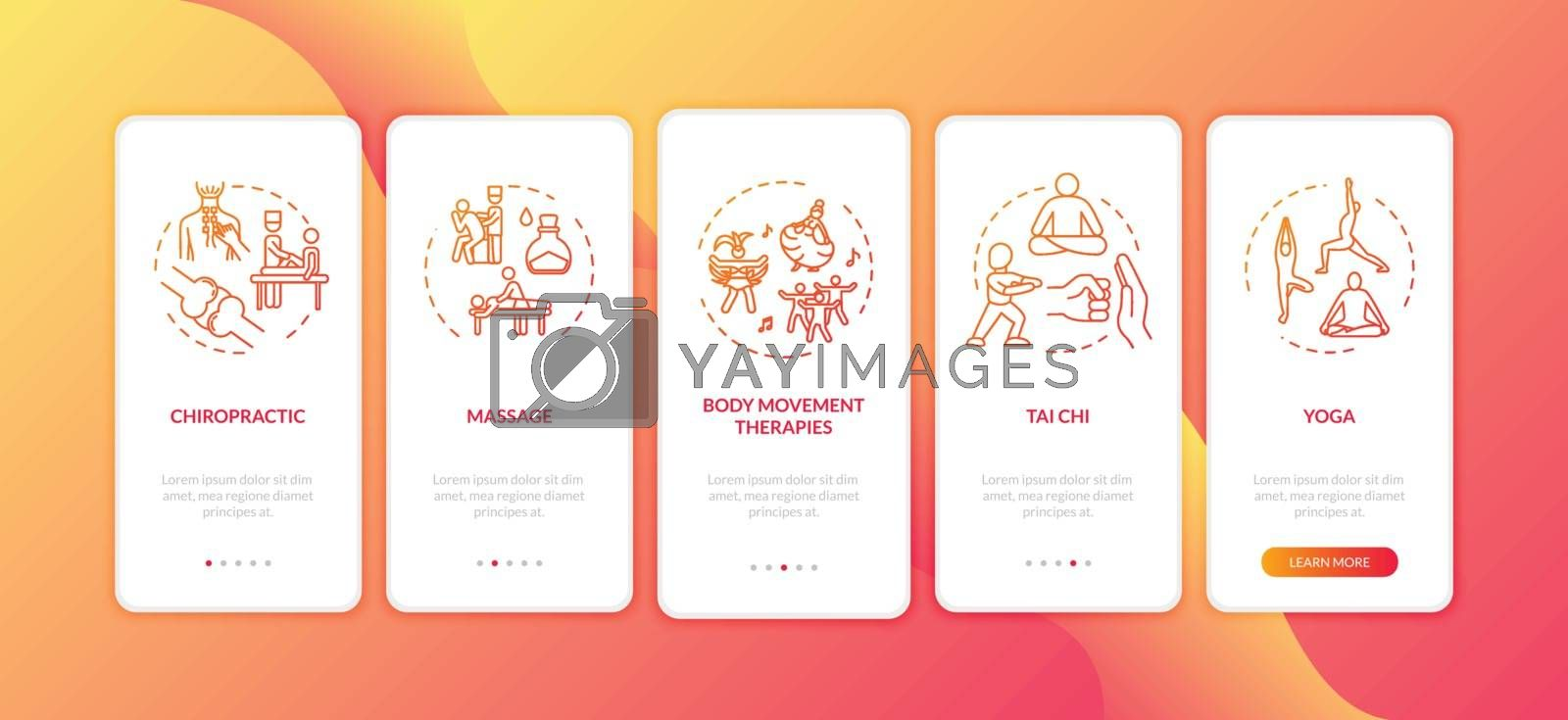 Sensory medicine onboarding mobile app page screen with concepts. Complementary physical therapies walkthrough five steps graphic instructions. UI vector template with RGB color illustrations by bsd