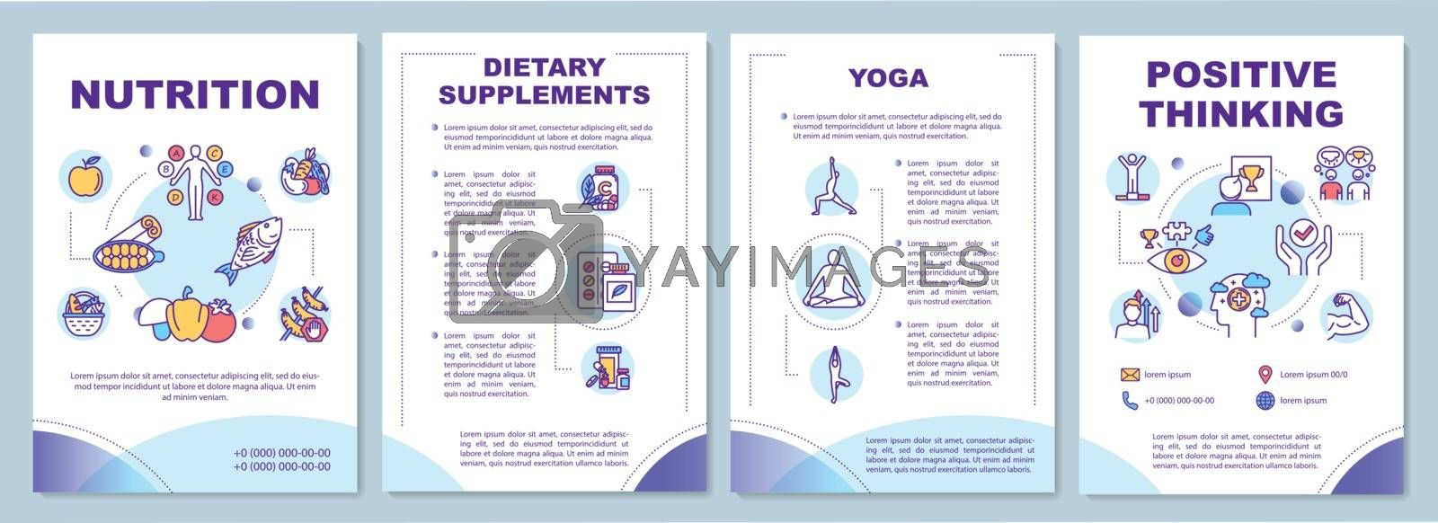 Healthy lifestyle brochure template. Complementary medicine flyer, booklet, leaflet print, cover design with linear icons. Vector layouts for magazines, annual reports, advertising posters by bsd