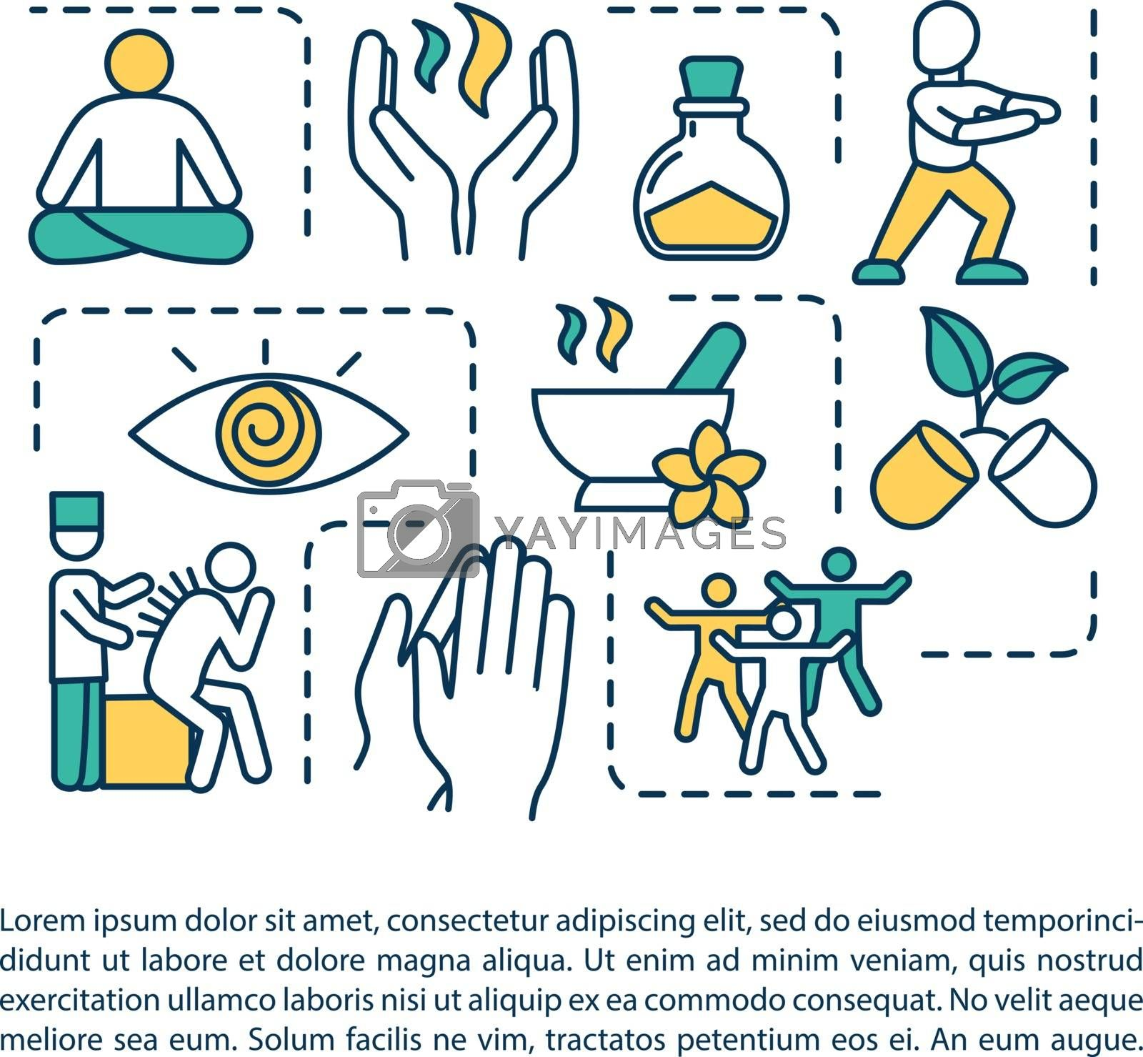 Chinese alternative medicine practices concept icon with text. Acupuncture, aromatherapy, meditation. PPT page vector template. Brochure, magazine, booklet design element with linear illustrations by bsd
