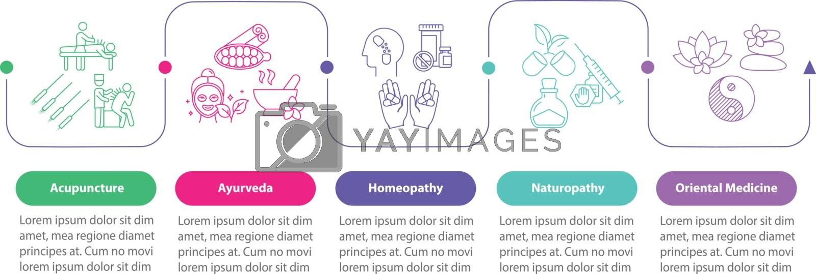 Traditional medicine vector infographic template. Alternative therapies presentation design elements. Data visualization with five steps. Process timeline chart. Workflow layout with linear icons