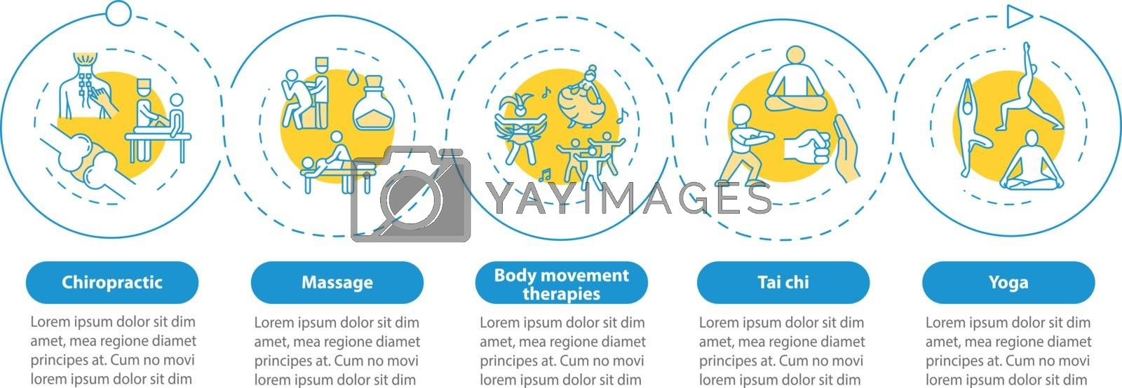 Sensory medicine vector infographic template. Massage, tai chi and yoga presentation design elements. Data visualization with five steps. Process timeline chart. Workflow layout with linear icons