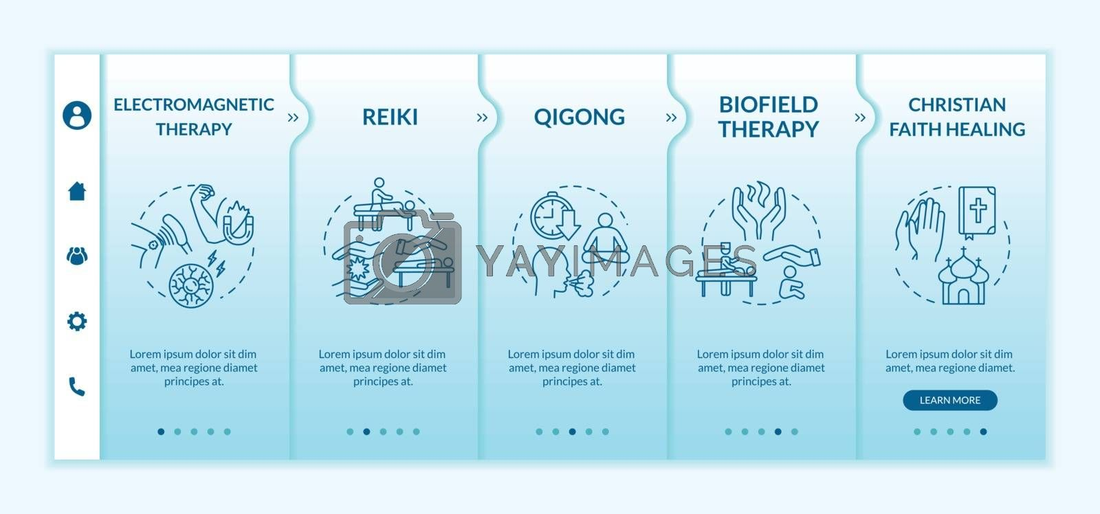 Alternative medicine onboarding vector template. Responsive mobile website with icons. Electromagnetic therapy, reiki and christian faith healing webpage walkthrough step screens. RGB color concept