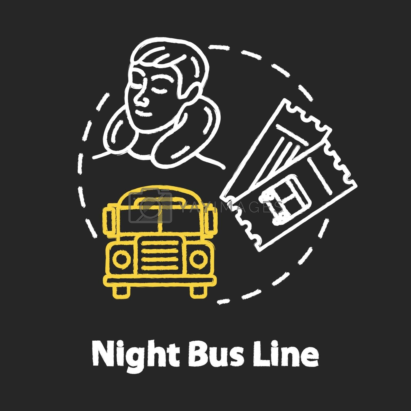Night bus line chalk RGB color concept icon. Rest on the way idea. Sleeping tourist, international autobus and travel tickets Vector isolated chalkboard illustration on black background