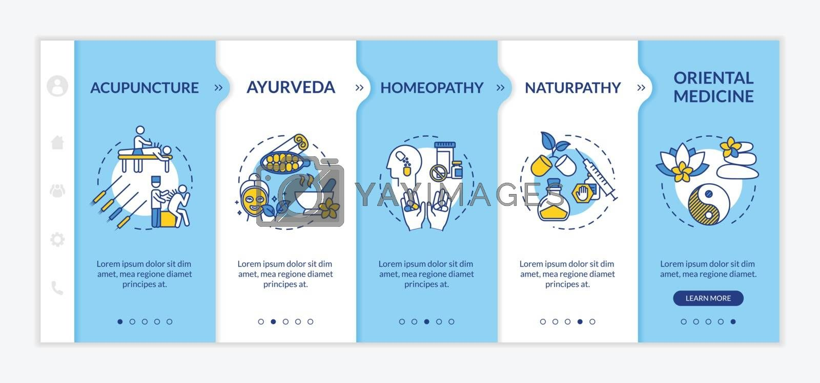 Alternative medicine onboarding vector template. Responsive mobile website with icons. Acupuncture, ayurveda, homeopathy and naturopathy webpage walkthrough step screens. RGB color concept