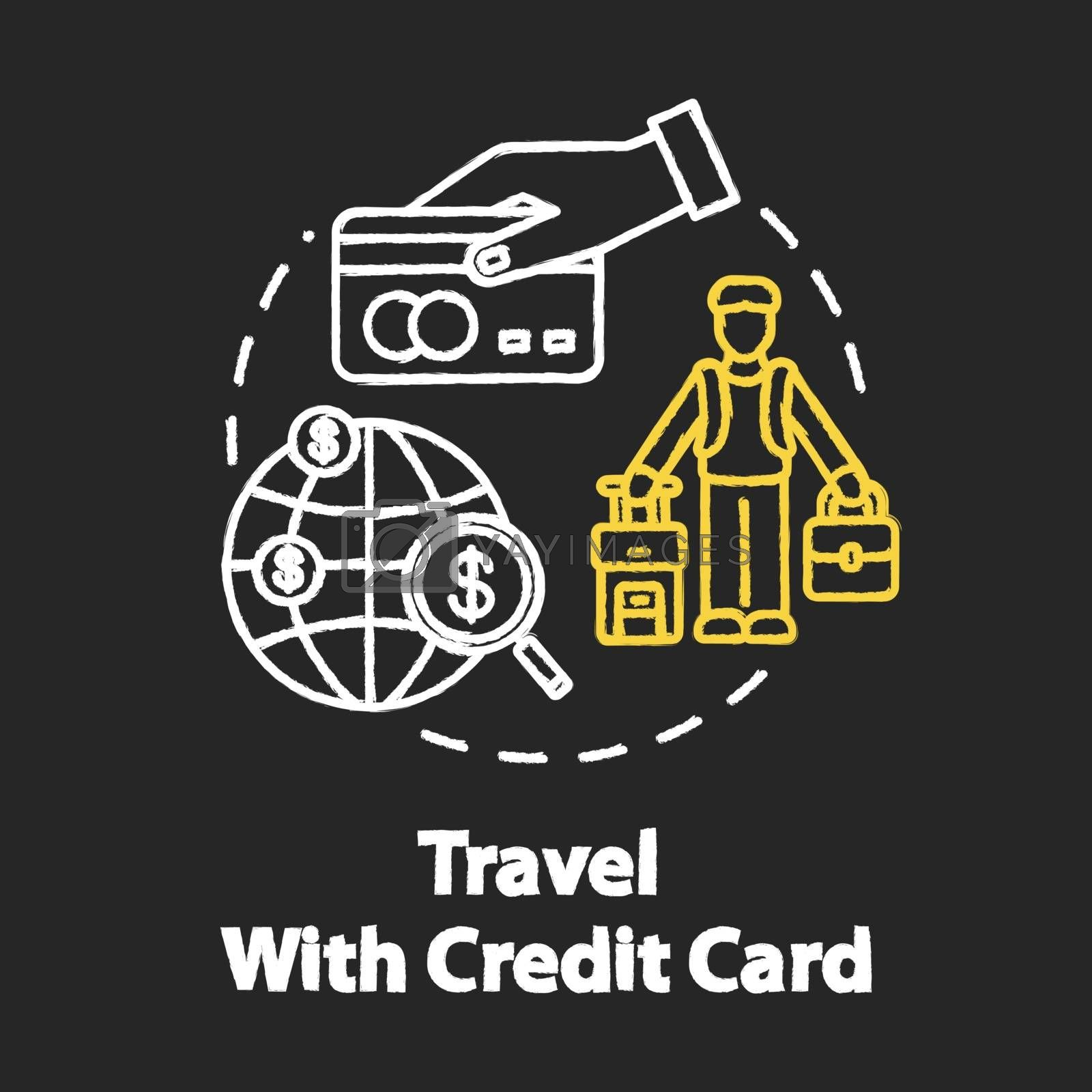 Travel with credit card chalk RGB color concept icon. Bonus system for tourists, money saving idea. Free mileage and baggage checks. Vector isolated chalkboard illustration on black background