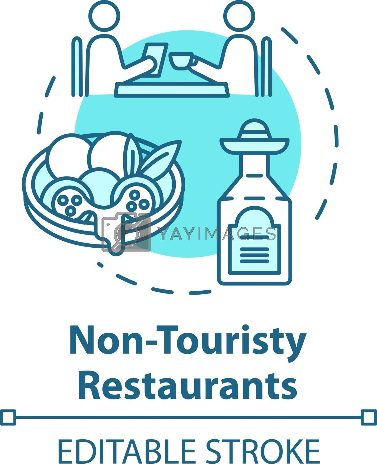 Non touristy restaurants concept icon. Inexpensive lunch, affordable dinner idea thin line illustration. Money saving option for tourists. Vector isolated outline RGB color drawing. Editable stroke