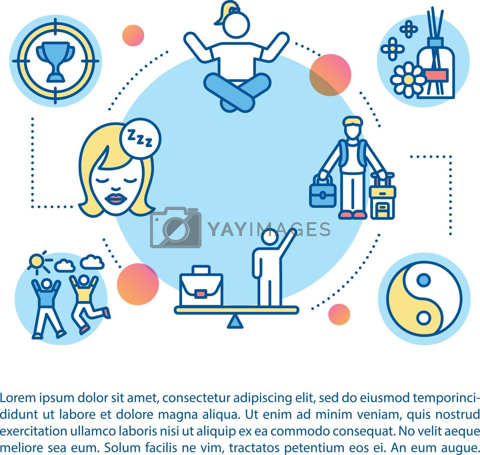 Recreational activities concept icon with text. Vacation. Life and work balance. Hobbies, relaxation. PPT page vector template. Brochure, magazine, booklet design element with linear illustrations